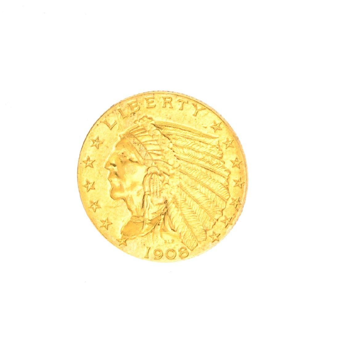 Very Rare 1908 $2.50 U.S. Indian Head Gold Coin Great
