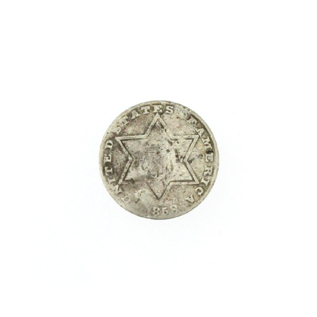 1858 Silver Three-Cent Coin
