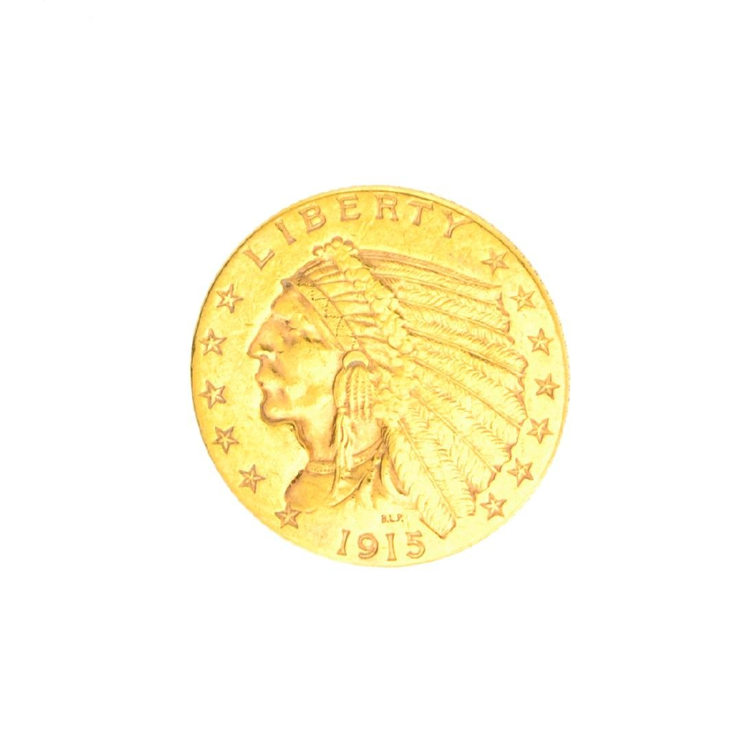 Very Rare 1915 $2.50 U.S. Indian Head Gold Coin Great