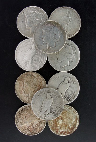 4020: 10 Misc. Peace Silver Dollar Coins- Invest!