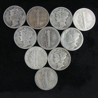 9: 10 Assorted Winged Liberty Head Dimes-Investment