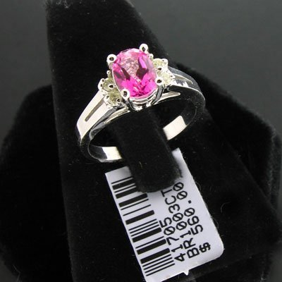 1393: 14 kt. White Gold, Pink Topaz and Diamond Ring