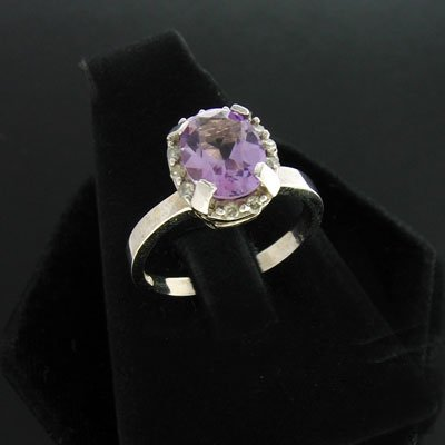 18: APP: $1.5k 14 kt. White Gold, 1.60CT Amethyst and 0