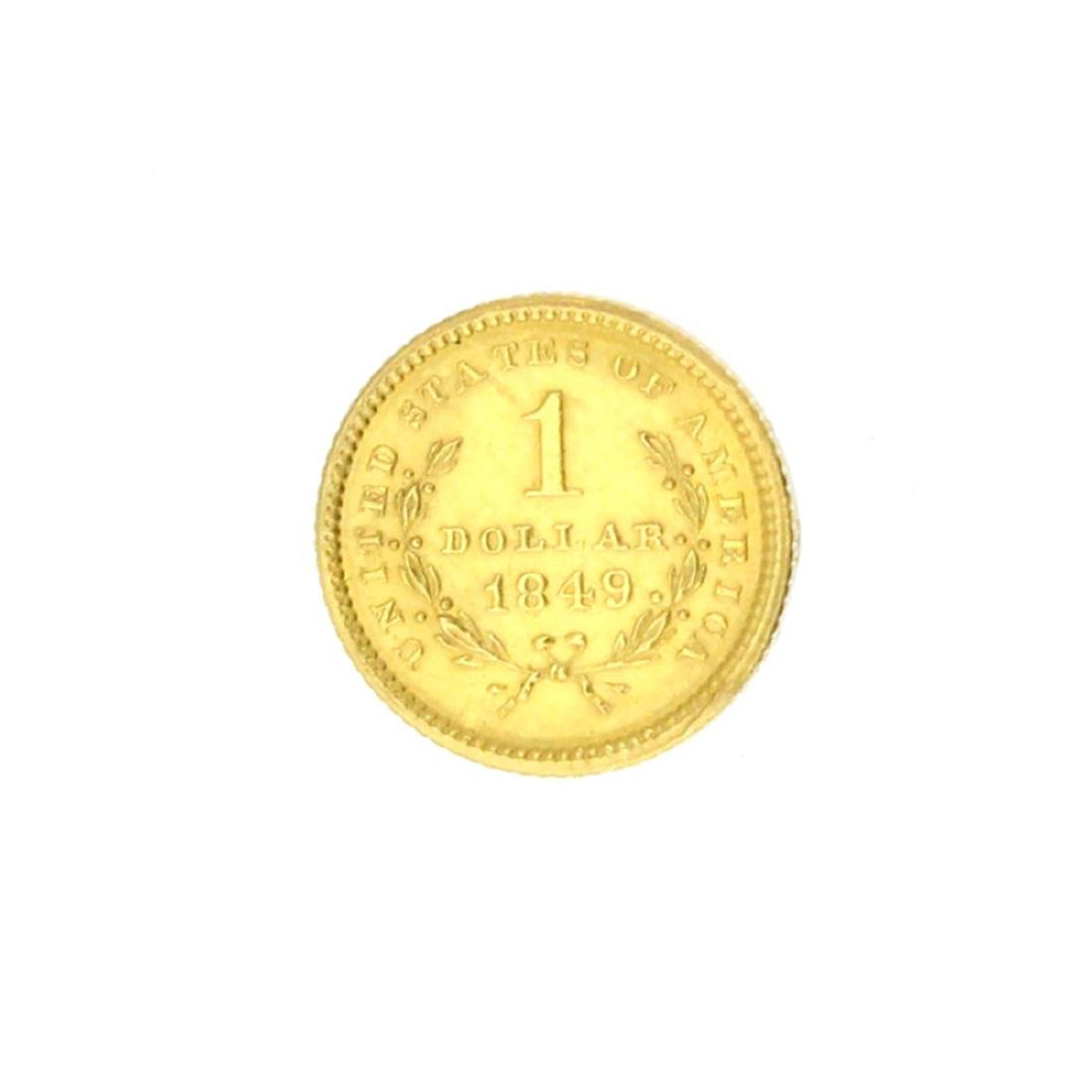Extremely Rare 1849 $1 U.S. Liberty Head Gold Coin - 2