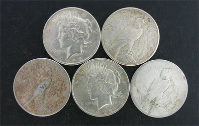 1605: 5 Assorted Peace Type Silver Dollar Coin-Investme