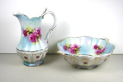 1609: Flower Design Blue Pitcher and Bowl-Collectible
