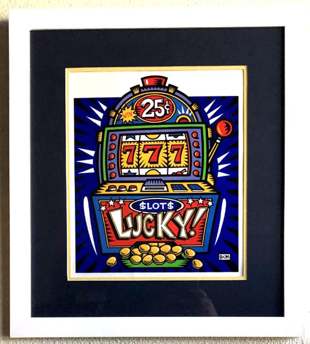 Burton Morris - ''''Slot Machine'''' Blue Framed Giclee