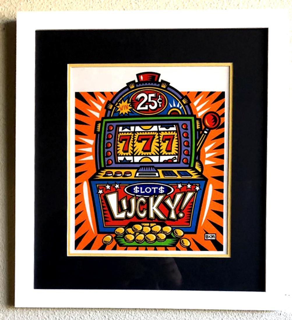 Burton Morris - ''''Slot Machine'''' Orange Framed