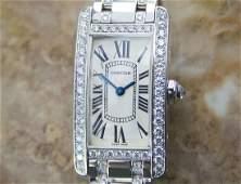 Ladies Cartier Tank Americaine 18K Gold W Diamonds
