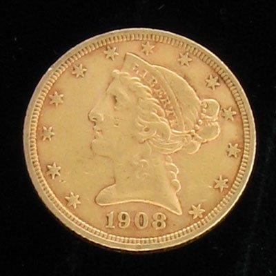 123: 1908 $5 Gold Coin-Investment Potential