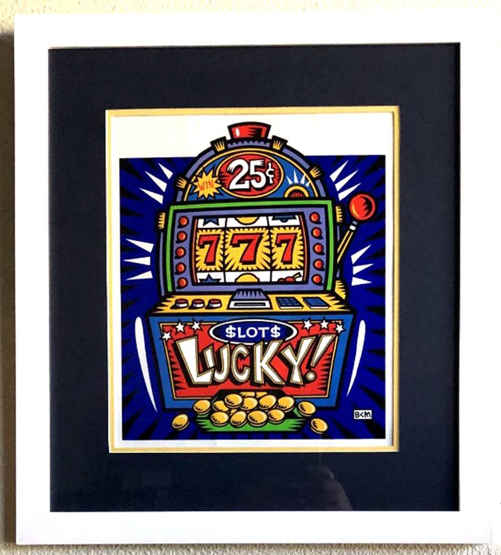 Burton Morris - ''''Slot Machine'''' Blue Framed Giclee