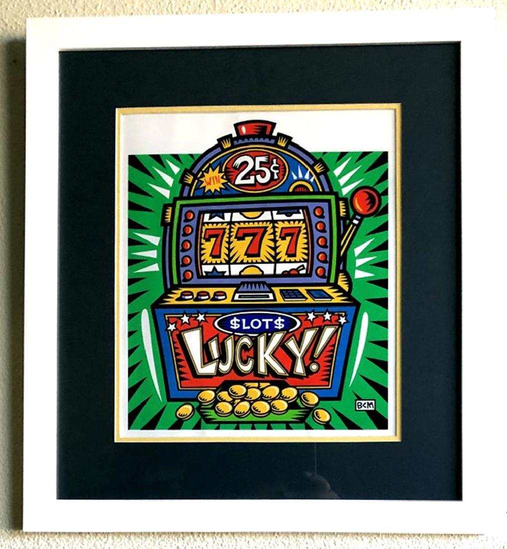Burton Morris - ''''Slot Machine'''' Green Framed
