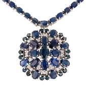APP: 17.8k *34.11ctw Blue Sapphire and 1.00ctw Diamond