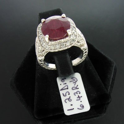 3014: APP: 30.4k 14 kt. Wht Gold, 6.43CT Ruby & 1.25CT