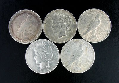 3023: 5 Assorted Peace Type Silver Dollar Coin