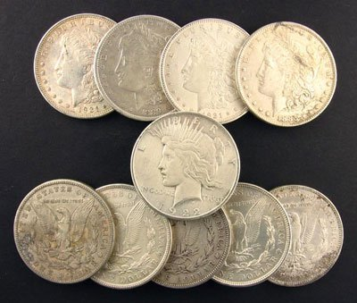 412: 10 Misc. Morgan/Peace Silver Dollars Coin, COLLECT