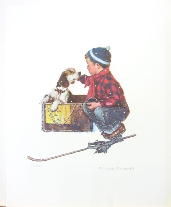 416: NORMAN ROCKWELL - A Boy Meets His Dog Lithograph