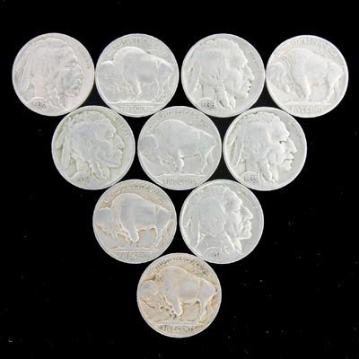 424: 10 Buffalo Head Nickels-Various Years Coin, Collec