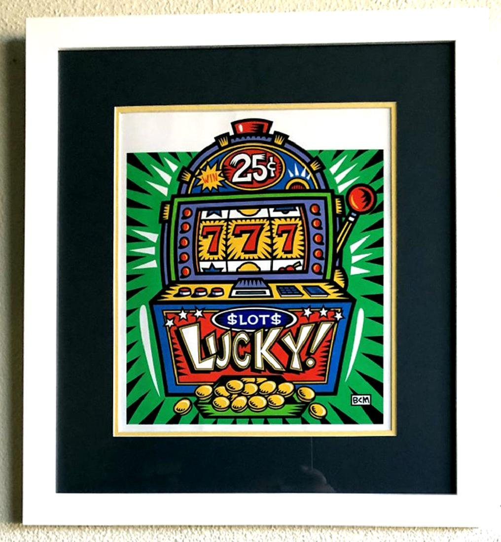 Burton Morris - ''''Slot Machine'''' Green Framed