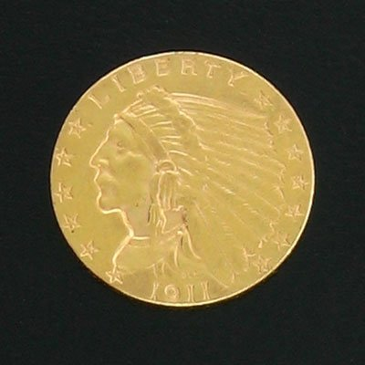 1865: 1911 $2.5 US Indian Head Gold Coin-Investment Pot