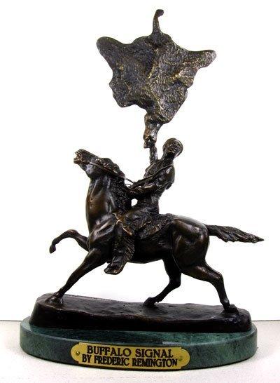1867: Bronze Frederic Remington - Buffalo Signal, Colle