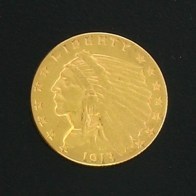 1873: 1913 $2.5 US Indian Head Gold Coin-Investment Pot