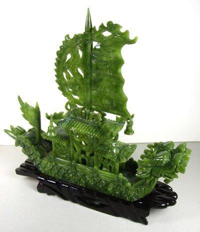 1899: Oriental Jade Boat-Hand Carved-Translucent Green