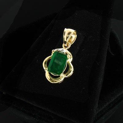 1903: APP: 0.8k 14 kt. Gold, 0.98CT Emerald & 0.01CT Di