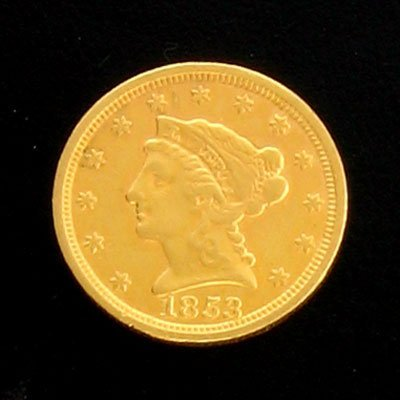 1608: 1853 $2.5 US Coronet Type Gold Coin-Investment Po