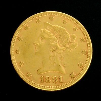 1624: 1881 $10 US Coronet Type Gold  Coin-Investment Po