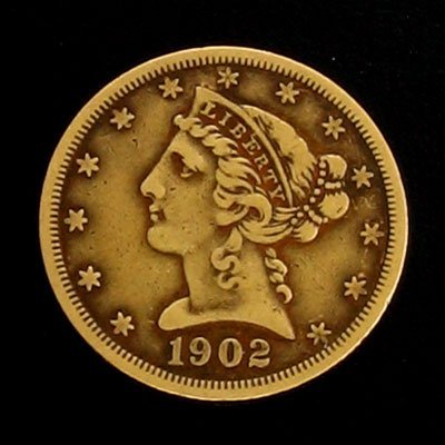 1642: 1902 $5 US Coronet Type Gold  Coin-Investment Pot