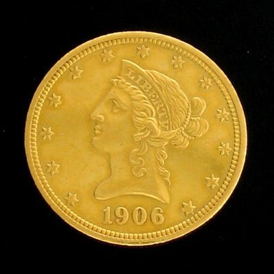 1746: 1906-D $10 US Coronet Type Gold  Coin-Investment