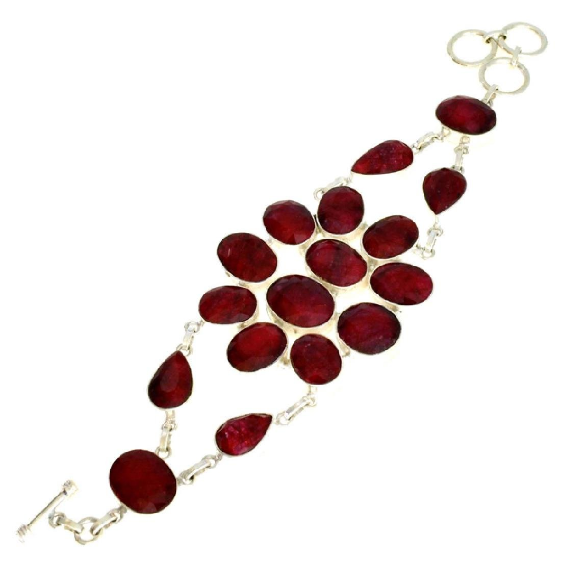 119.14CT Mixed Cut Ruby and Sterling Silver Bracelet