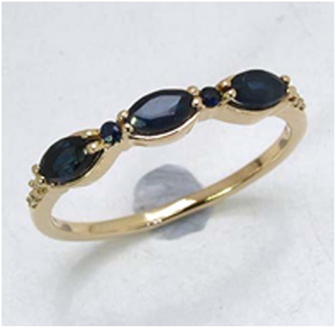 *Fine Jewelry 14K Gold, 1.62CT Blue Sapphire And White