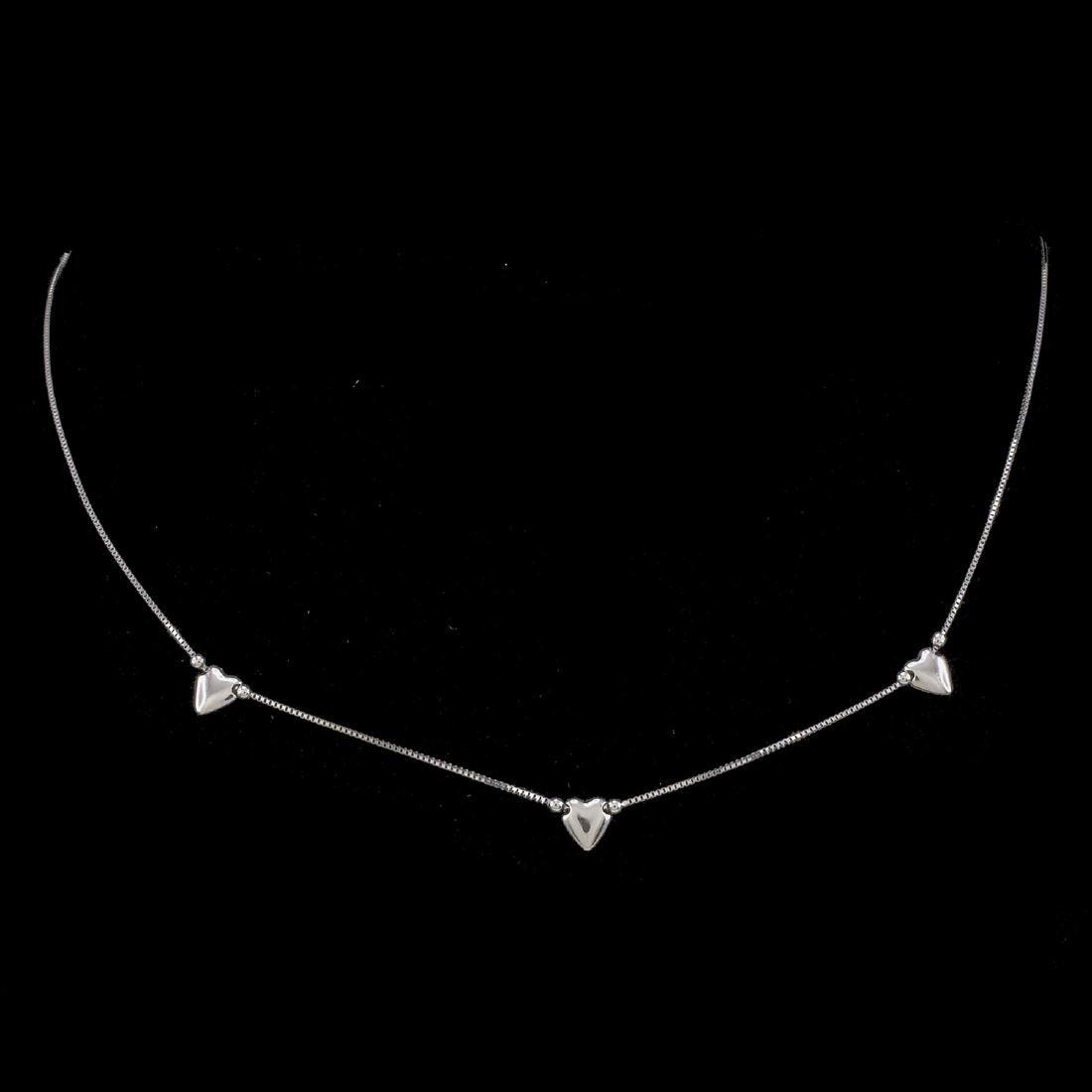 *Fine Jewelry 14 KT White Gold Box Chain W 3 Station