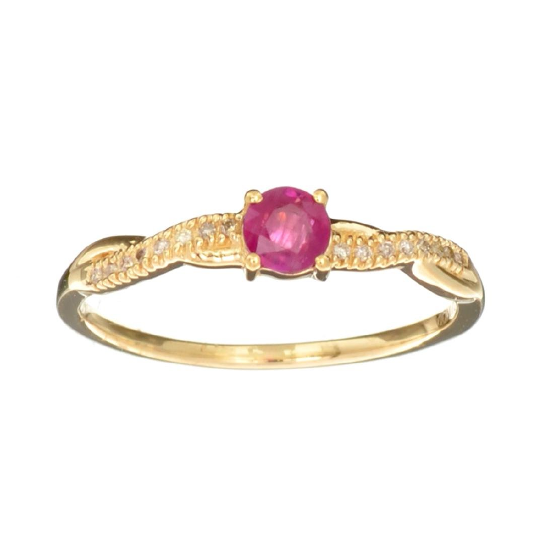 Designer Sebastian 14 KT Gold 0.43CT Round Cut Ruby and