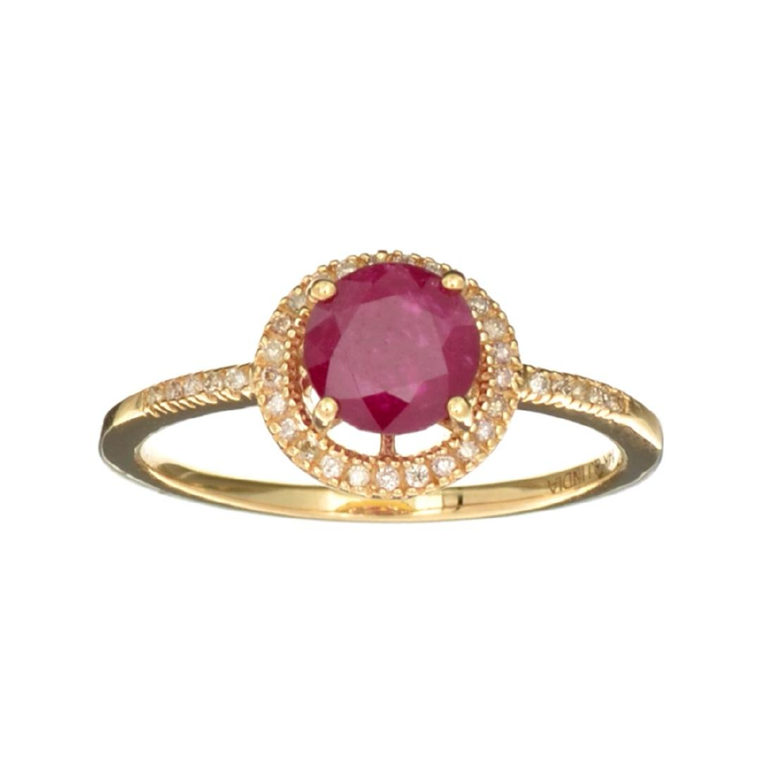 Designer Sebastian 14 KT Gold, 1.25CT Round Cut Ruby