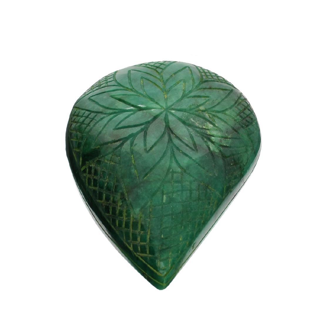 APP: 8.2k 1,639.00CT Pear Cut Carved Green Beryl
