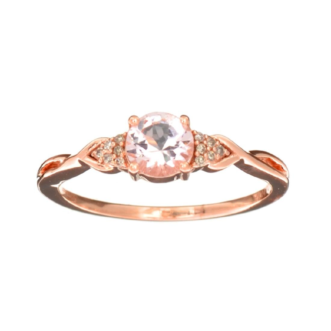 Designer Sebastian 14 KT Rose Gold, Round Cut Morganite