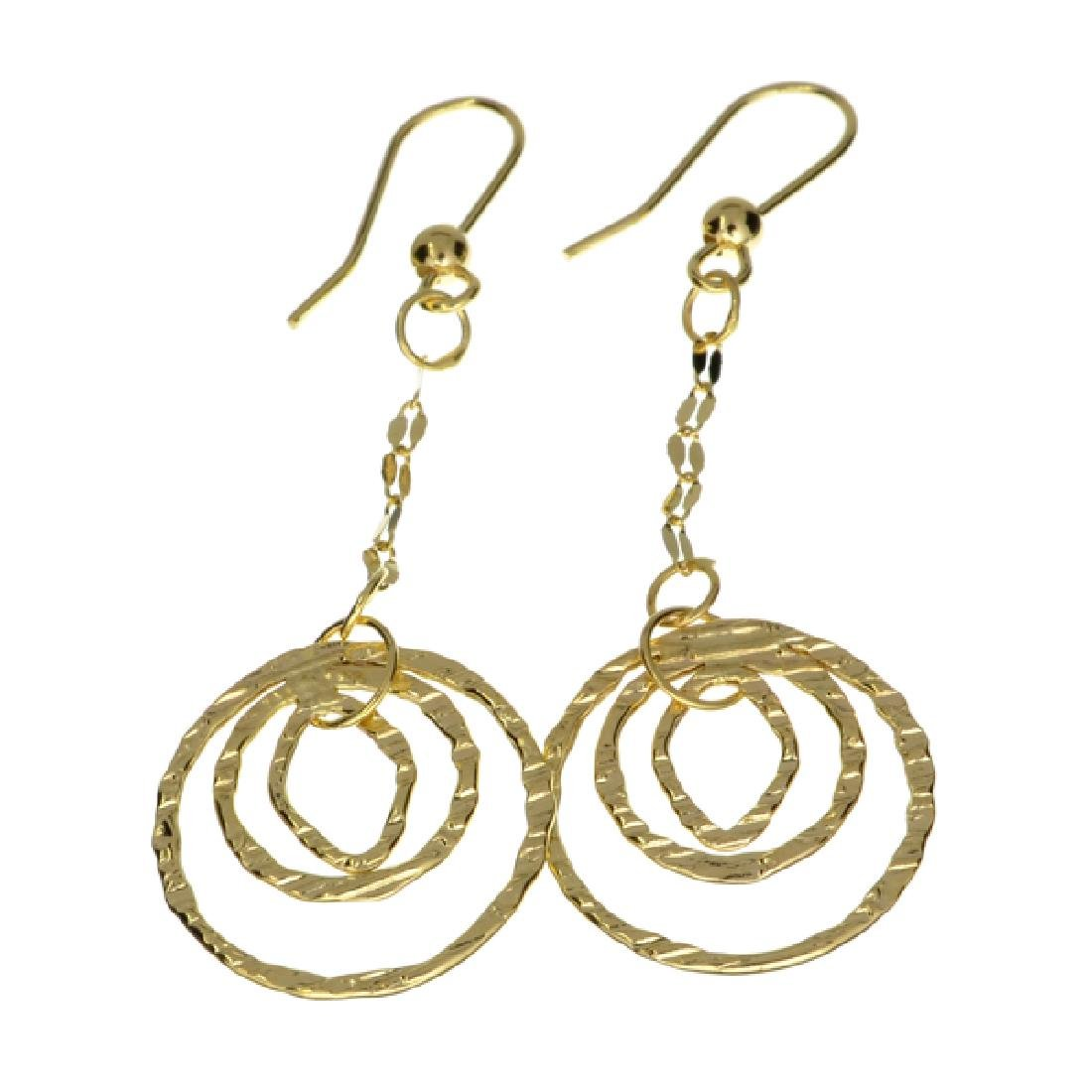 Exquisite 14 kt. Gold, Dangle With Fancy Circle Drop