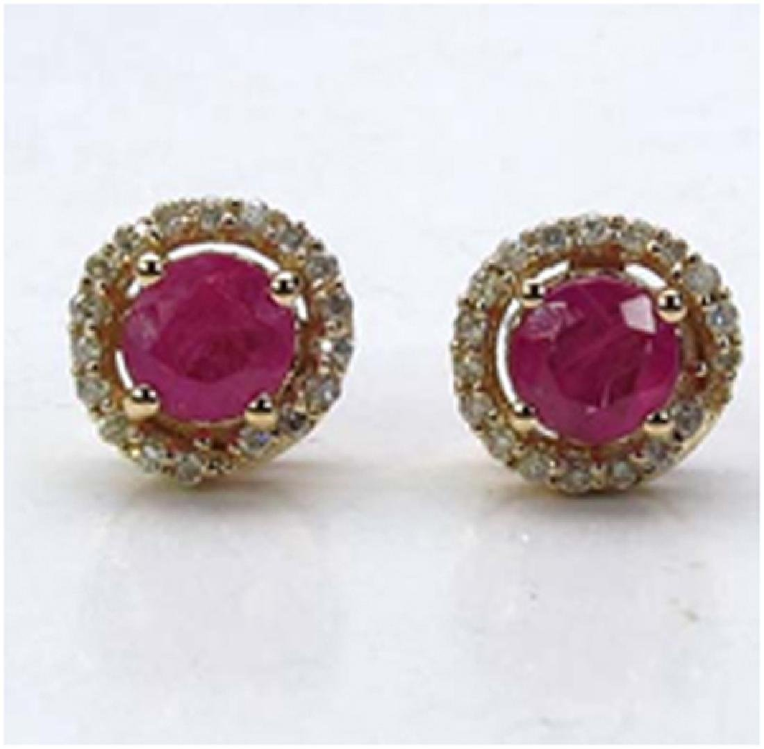 *Fine Jewelry 14K Gold, 1.84CT Ruby Round And White