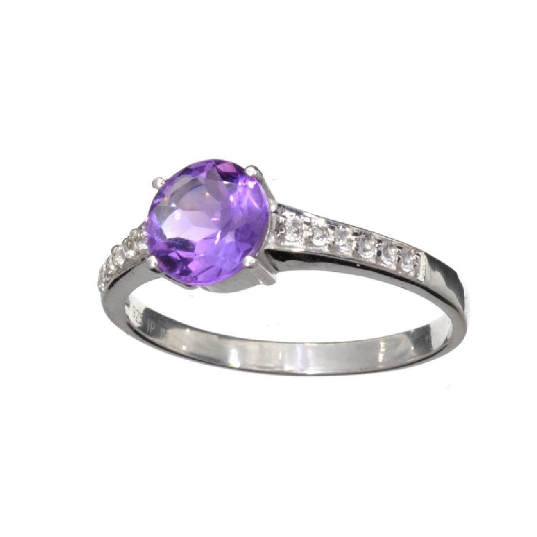 1.00CT Round Cut Purple Amethyst Quartz And Colorless