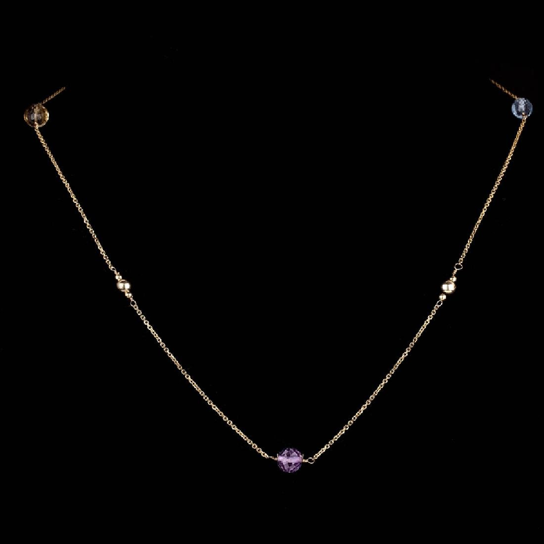 *14 KT Gold, Diamond Cut, 2.7GR, 16'' Amethyst, Blue