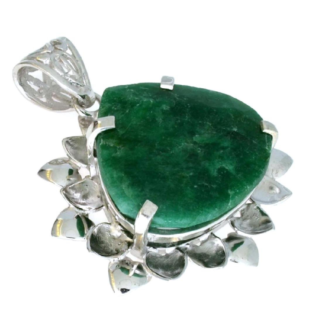 APP: 1.1k 45.55CT Pear Cut Emerald And Sterling Silver