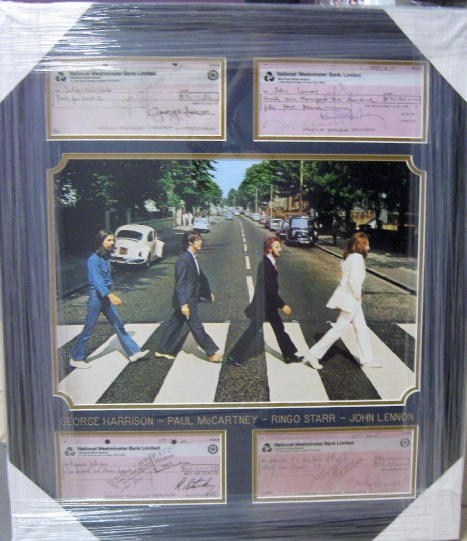 *Beatles Signed Copied Bank Checks Collage