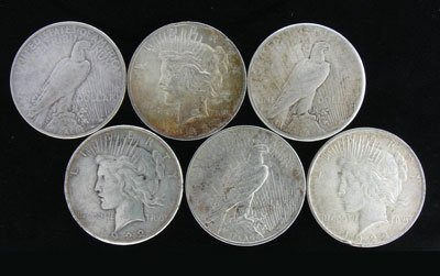 13: 6 Misc. Peace Silver Dollar Coin - Investment Poten