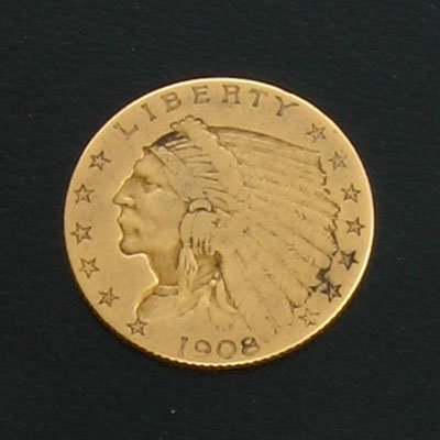 18: 1908 $2.5 US Indian Head Gold Coin - Investment Pot