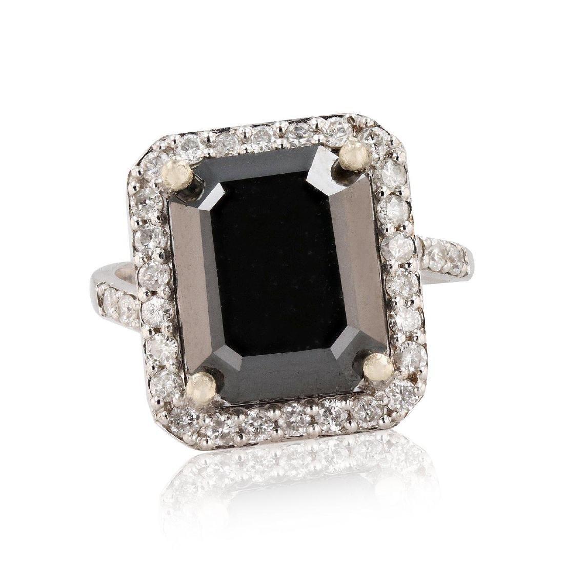 APP: 13.3k *8.13ct Black CENTER Diamond 14K White Gold
