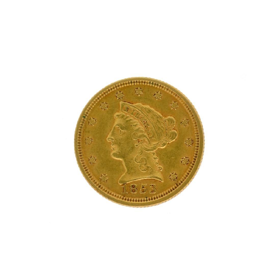 *1853 $2.5 Liberty Head Gold Coin (DF)