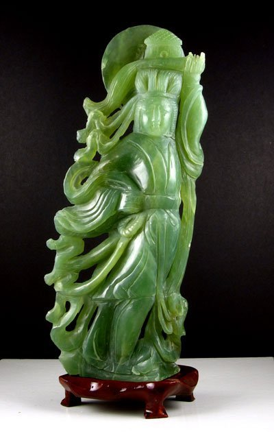 1903: Rare Hand Carved Jade Sculpture-Translucent Green